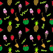 Seamless summer doodle hand drawn pattern with colorful holiday dark background withbeach stuff.