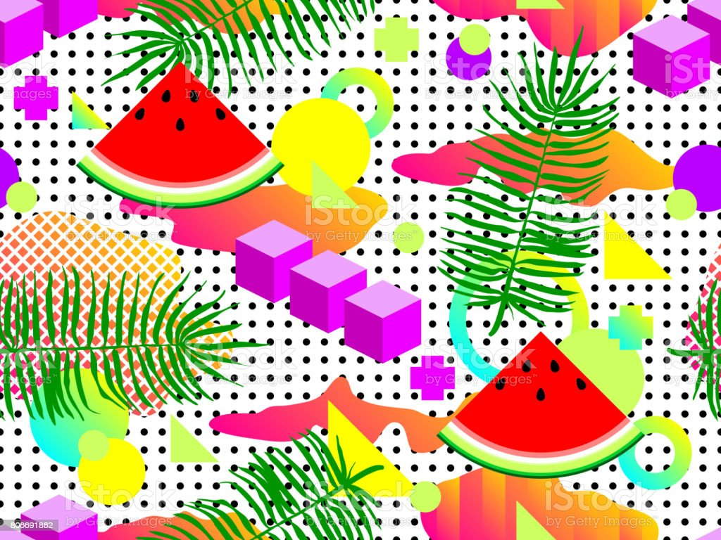 Seamless Summer Geometric Pattern With Watermelon In Retro 80s 90s Style Abstract Vector Design