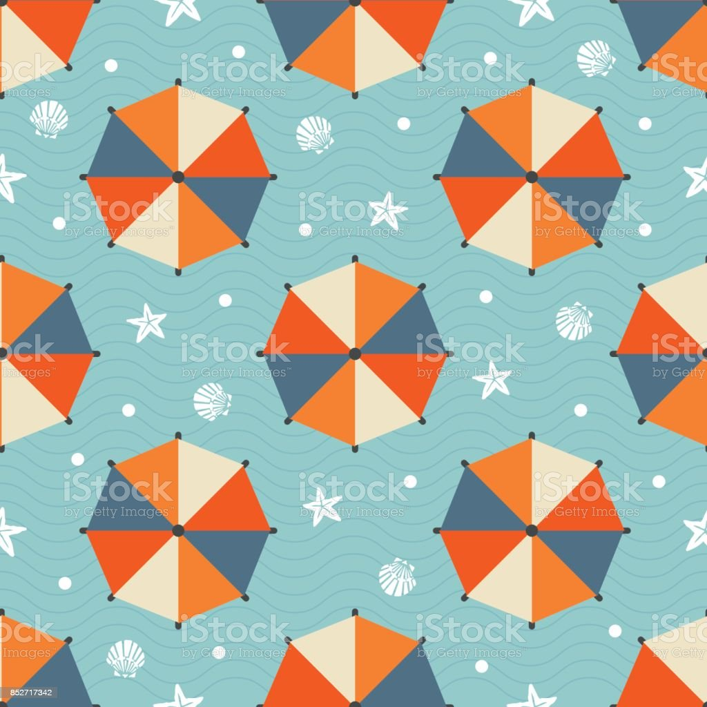 seamless summer pattern with colorful beach umbrella ,star fish,shell and  polka dot on blue wave background vector art illustration