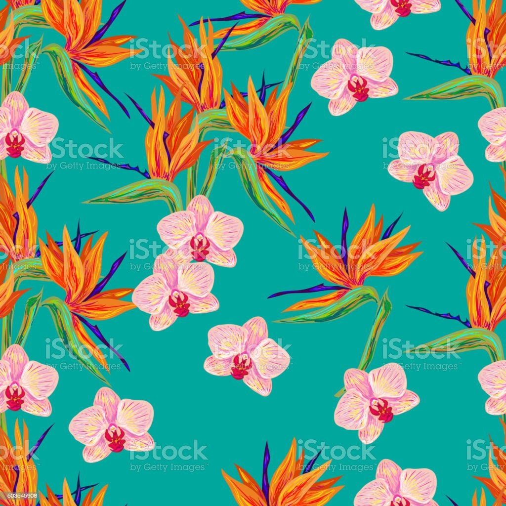 Seamless summer pattern with orchid and bird flower vector art illustration