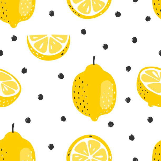Seamless summer pattern with slices and whole lemons. Vector illustration. Seamless summer pattern with slices and whole lemons. Vector illustration. citrus fruit stock illustrations