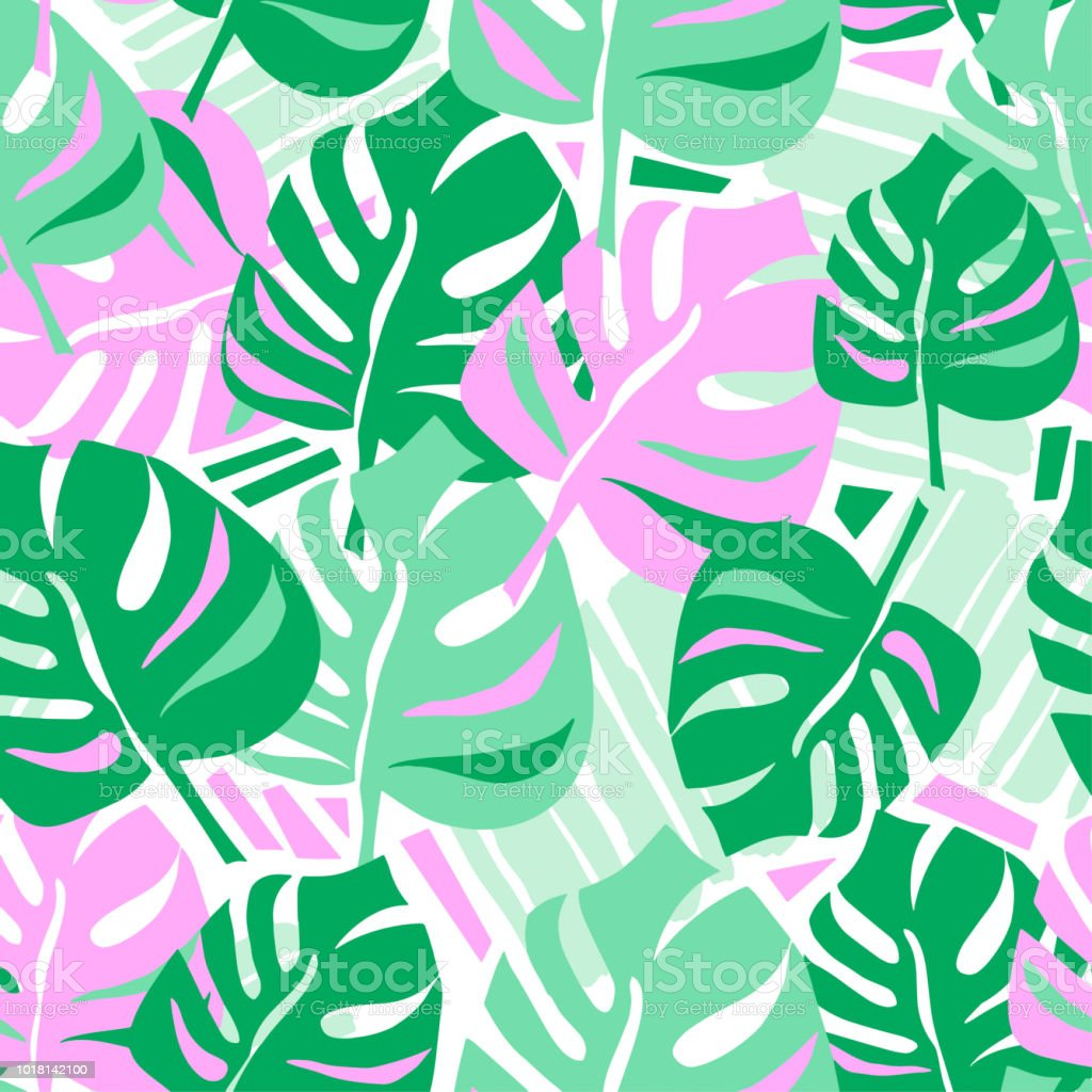 seamless summer tropical leaves pattern stock vector art more