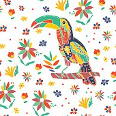 Seamless summer tropical pattern with bird and flowers. Vector.