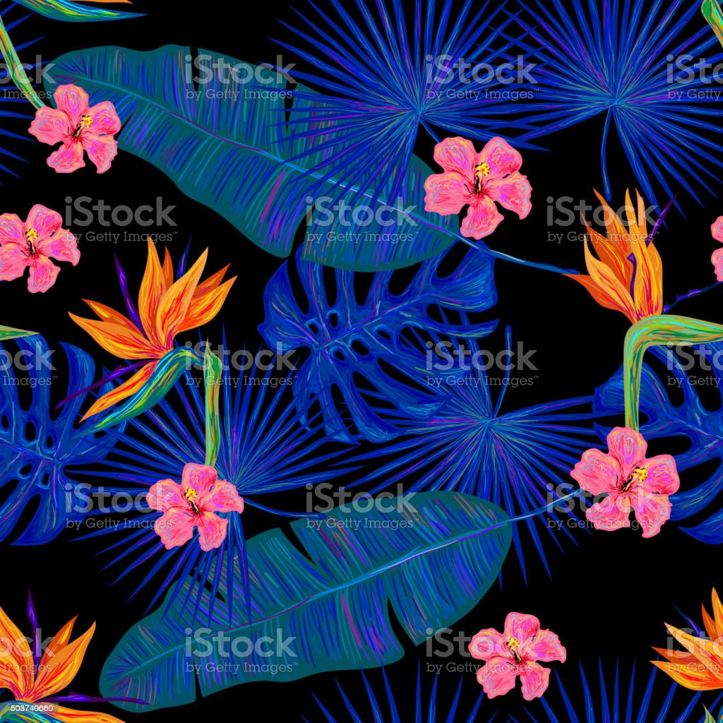 Seamless summer tropical pattern with exotic flowers and palm leaves vector art illustration
