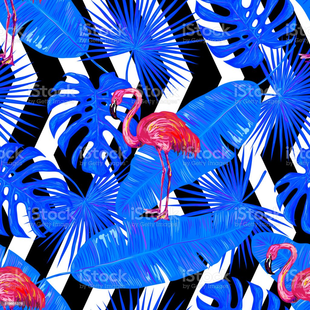 Seamless summer tropical pattern with flamingo vector art illustration