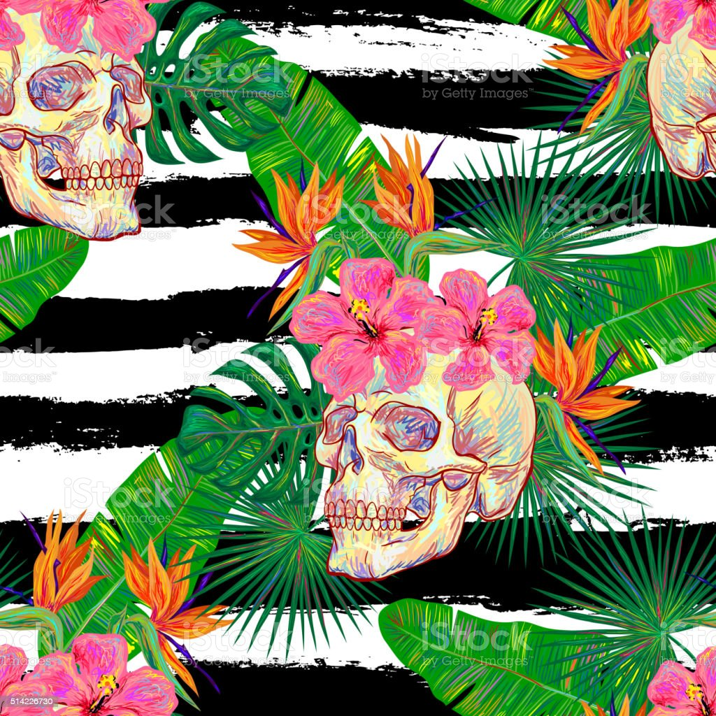 Seamless summer tropical pattern with skulls vector art illustration