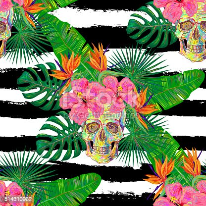 Seamless summer tropical pattern with skulls