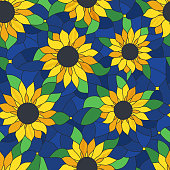 Seamless tileable repeating sunflower background abstract pattern.