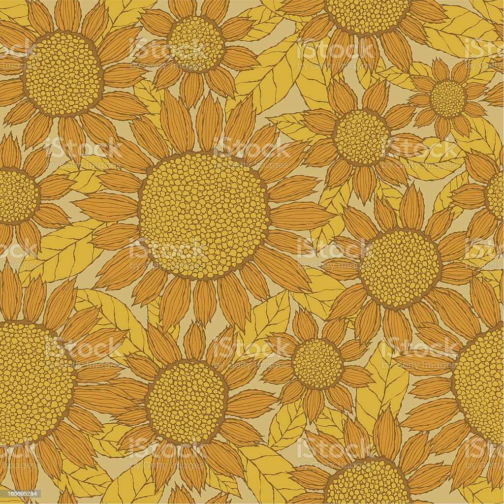 Seamless Sunflower Pattern royalty-free seamless sunflower pattern stock vector art & more images of autumn