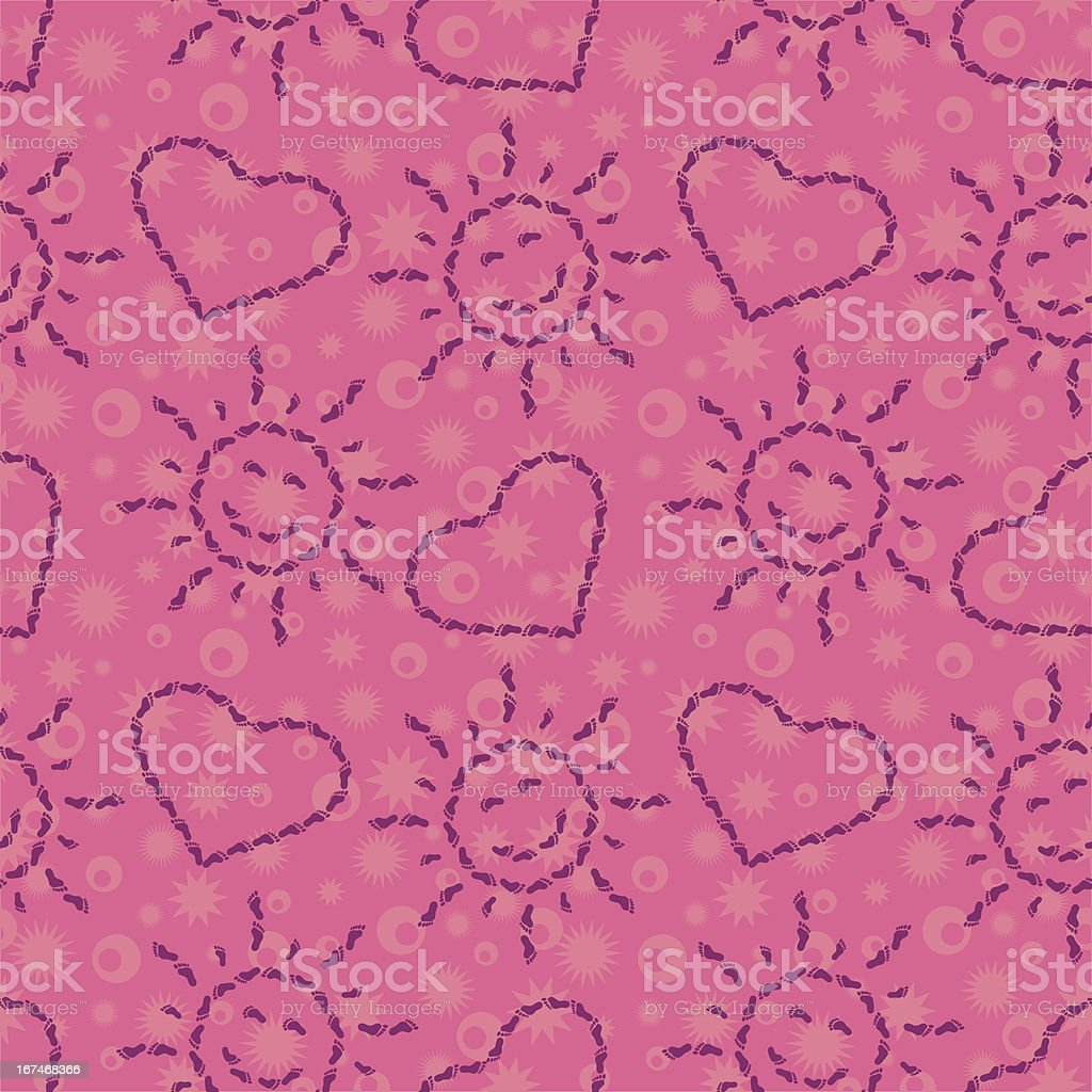Seamless, suns and hearts from footprints royalty-free stock vector art