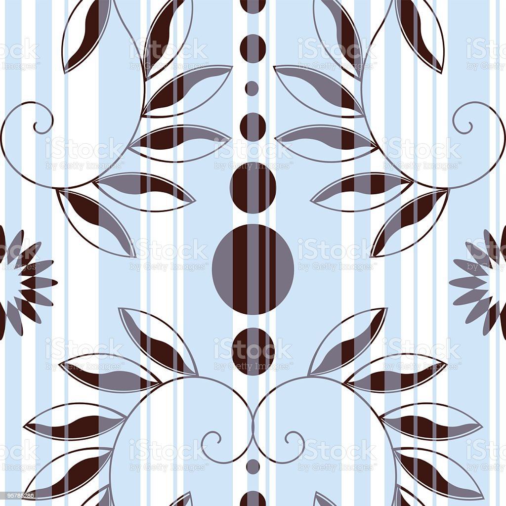 Seamless swirly leaves wallpaper background tile royalty-free stock vector art