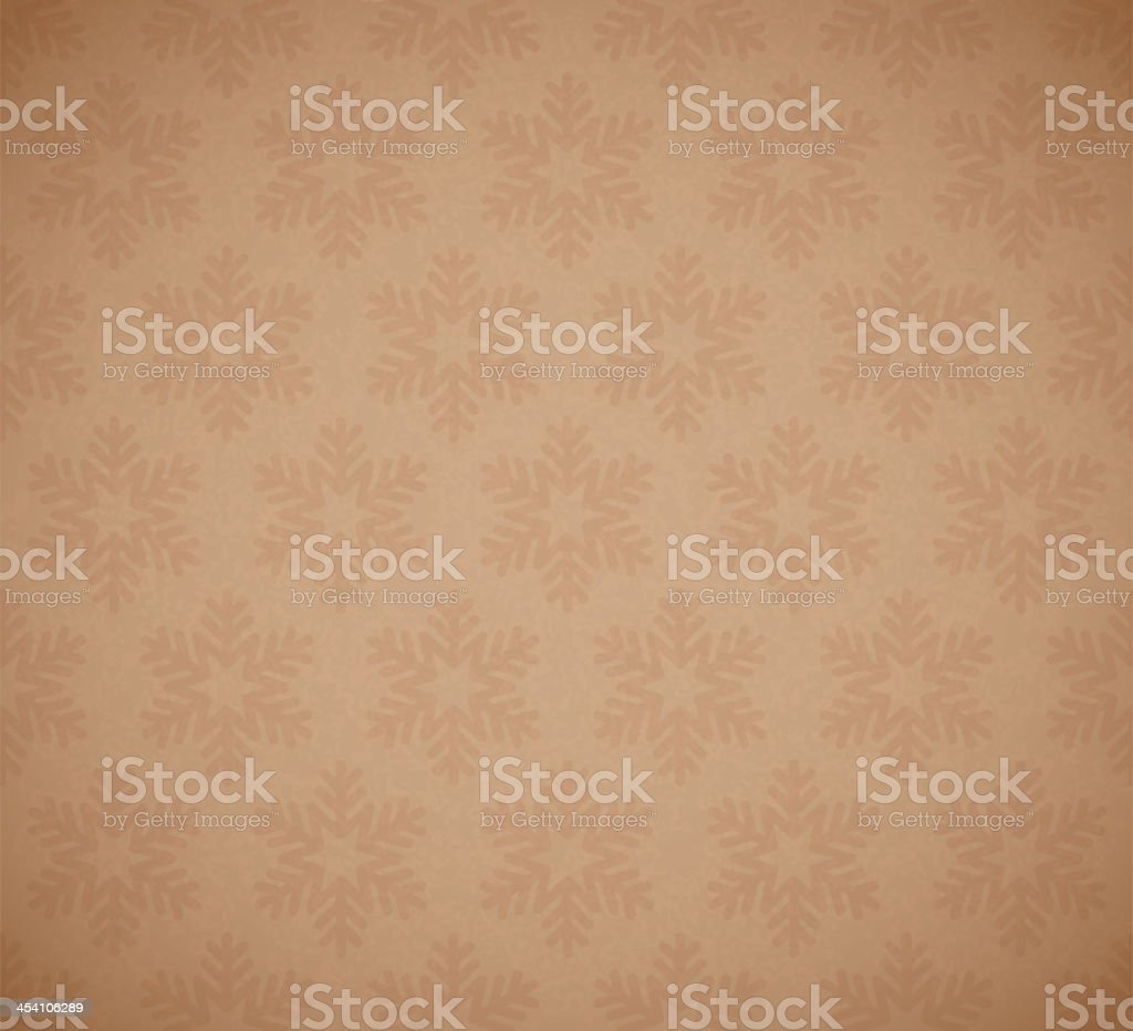 Seamless tan and brown snowflake background vector art illustration