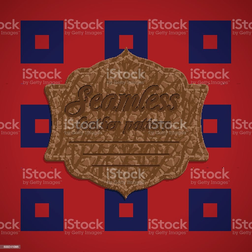 Seamless tartan pattern and label with leather texture royalty-free stock vector art