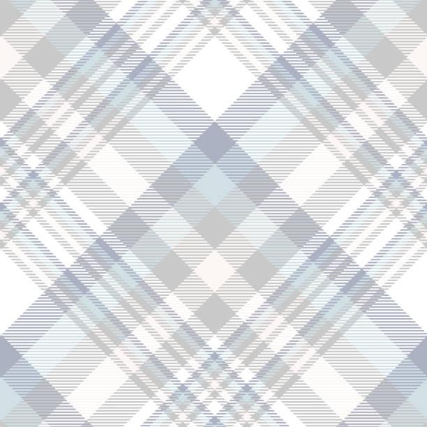 ilustraciones, imágenes clip art, dibujos animados e iconos de stock de patrón de tela escocesa de tartán transparente en azul pastel, gris, beige claro y blanco. - fondos de franela