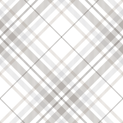 Seamless tartan plaid pattern in shades of gray, white and dusty beige