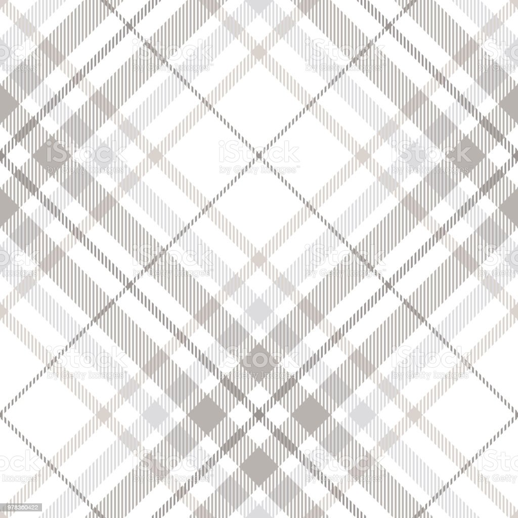 Seamless tartan plaid pattern in shades of gray, white and dusty beige vector art illustration