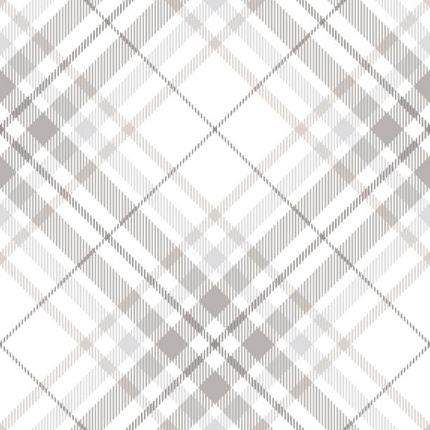seamless tartan plaid pattern in shades of gray, white and dusty beige - papier do pakowania stock illustrations