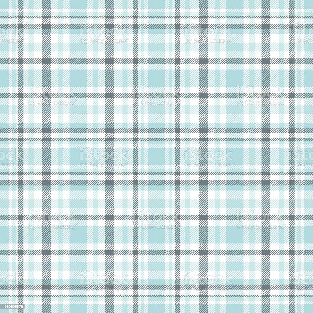 Seamless Tartan Plaid Pattern In Shades Of Light Blue And Greenish Gray.  Royalty Free