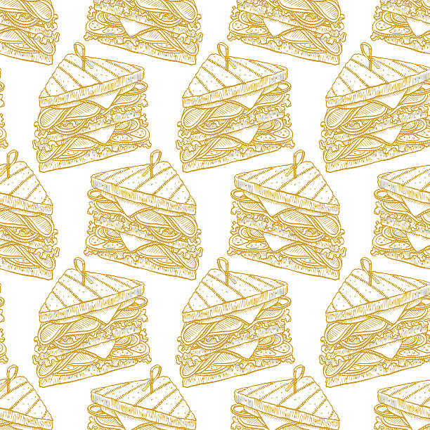 seamless tasty sandwiches - delis stock illustrations
