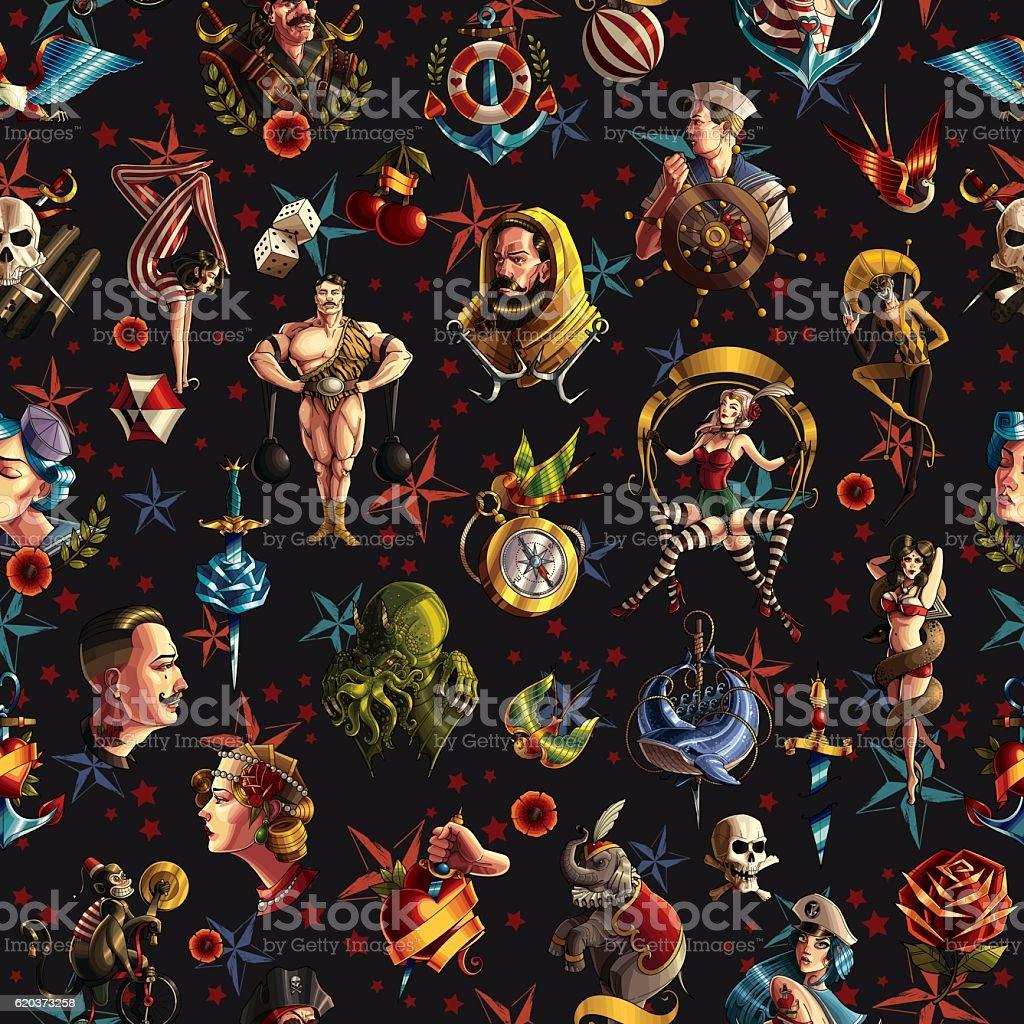 Seamless tattoo texture seamless tattoo texture - arte vetorial de stock e mais imagens de acrobata royalty-free