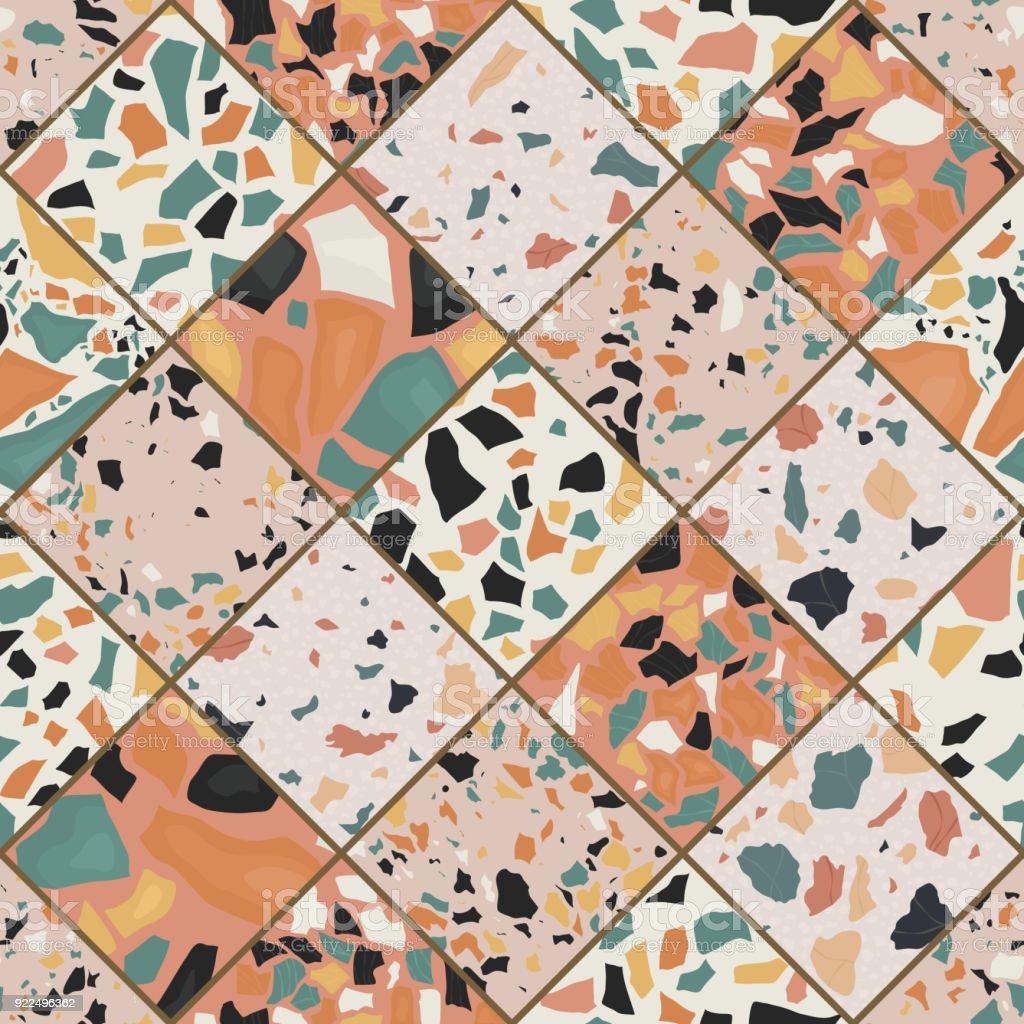 Nahtlose Terrazzo Muster Handgefertigt Und Einzigartiges Muster ...