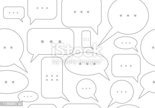 Seamless text bubbles; messages, comments in chat background, speech backdrop. Vector illustration