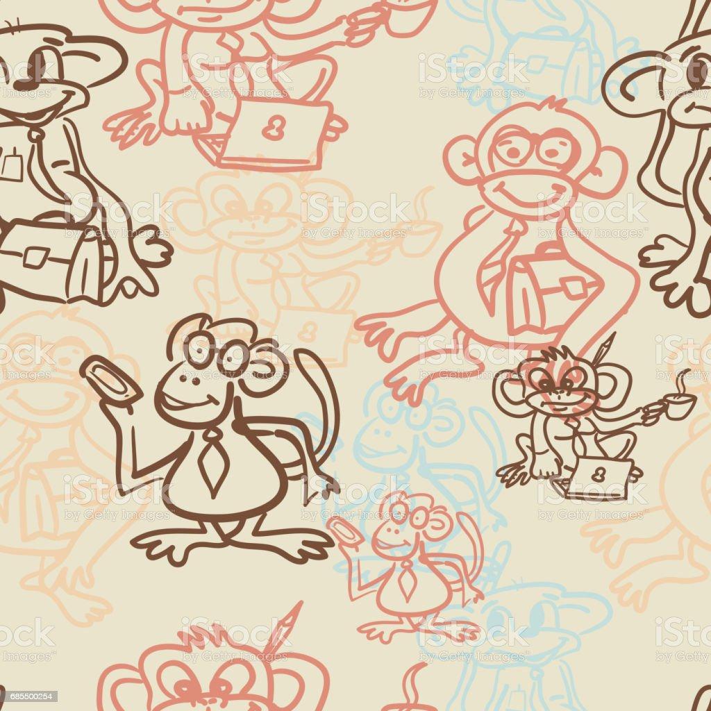 Ilustración de Textil Patrón Sin Costuras De Mono De Negocios y más ...