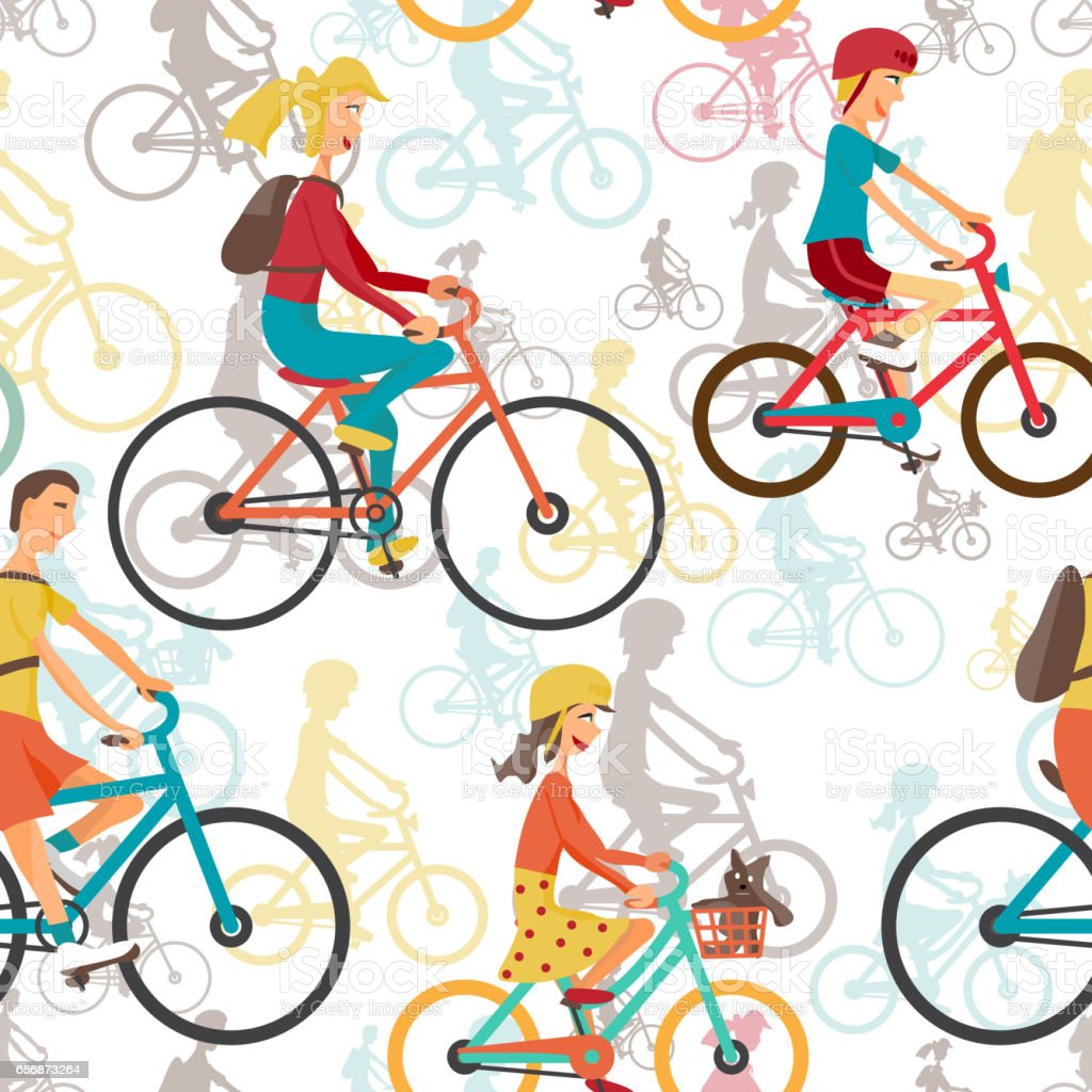 Seamless textile pattern with family to ride a bike vector art illustration