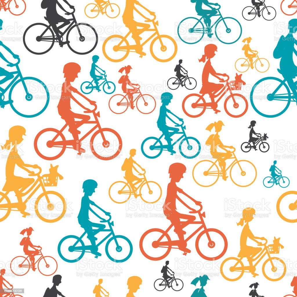 Seamless textile pattern with his family to ride a bike. vector art illustration