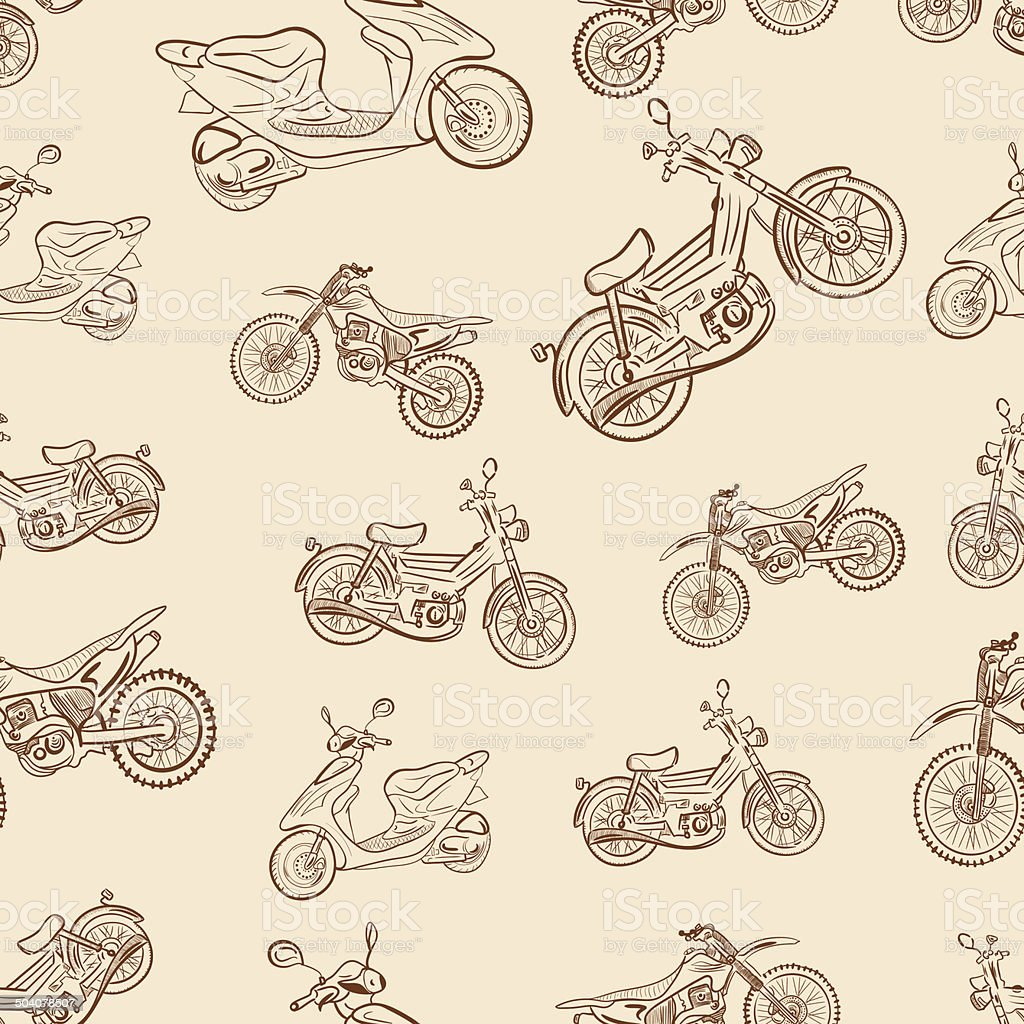 Seamless texture a vintage with mopeds vector art illustration