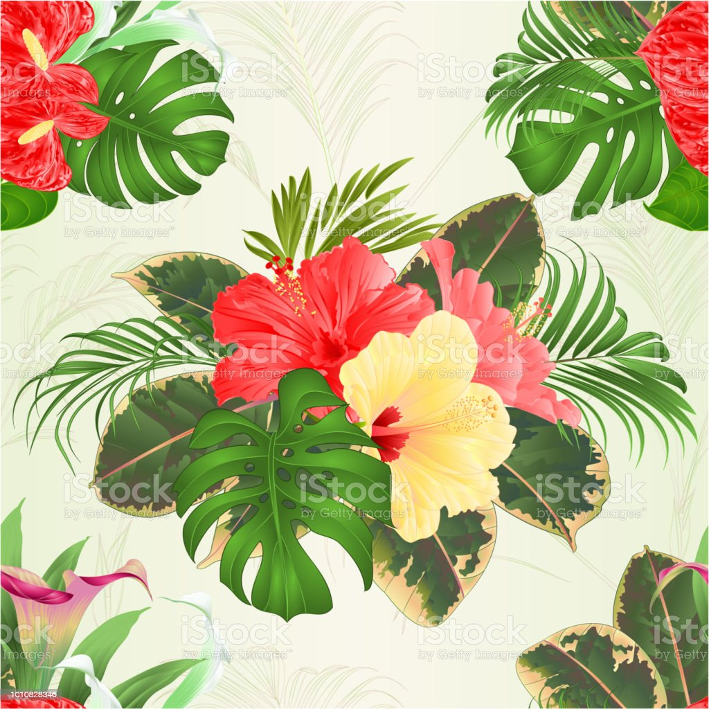 Seamless texture bouquet with tropical flowers floral arrangement seamless texture bouquet with tropical flowers floral arrangement with beautiful lilies cala and anthurium and izmirmasajfo