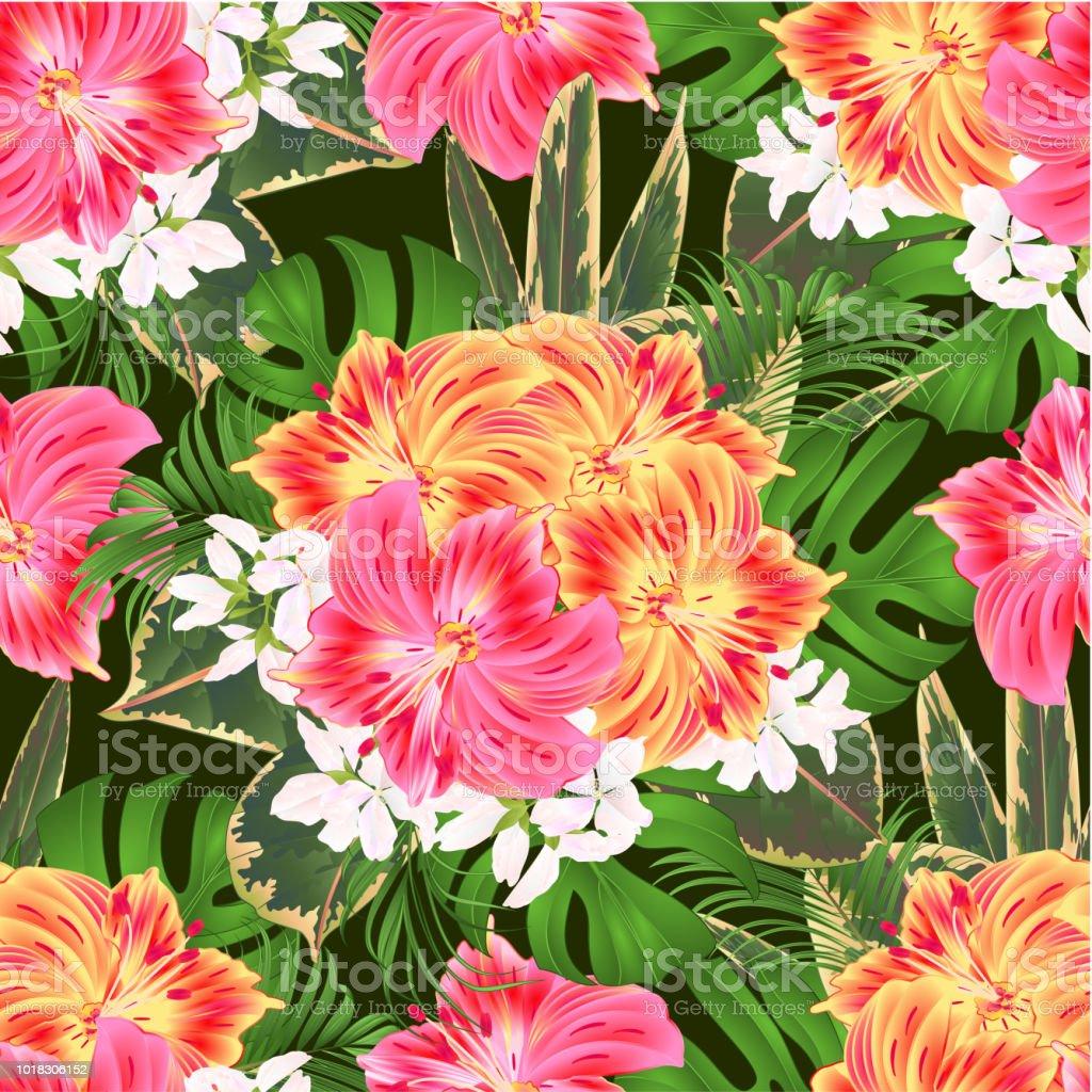 Ramo de textura transparente con tropical flores arreglo floral, con hermoso color amarilla y rosa Lily Alstroemeria, Palma, philodendron y ficus vintage vector ilustración editable - ilustración de arte vectorial