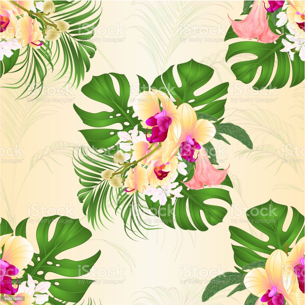 Seamless Texture Bouquet With Tropical Flowers Floral Arrangement ...