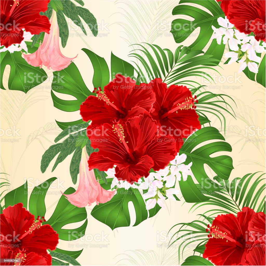 Seamless texture bouquet with tropical flowers floral arrangement seamless texture bouquet with tropical flowers floral arrangement with beautiful red hibiscus palm izmirmasajfo