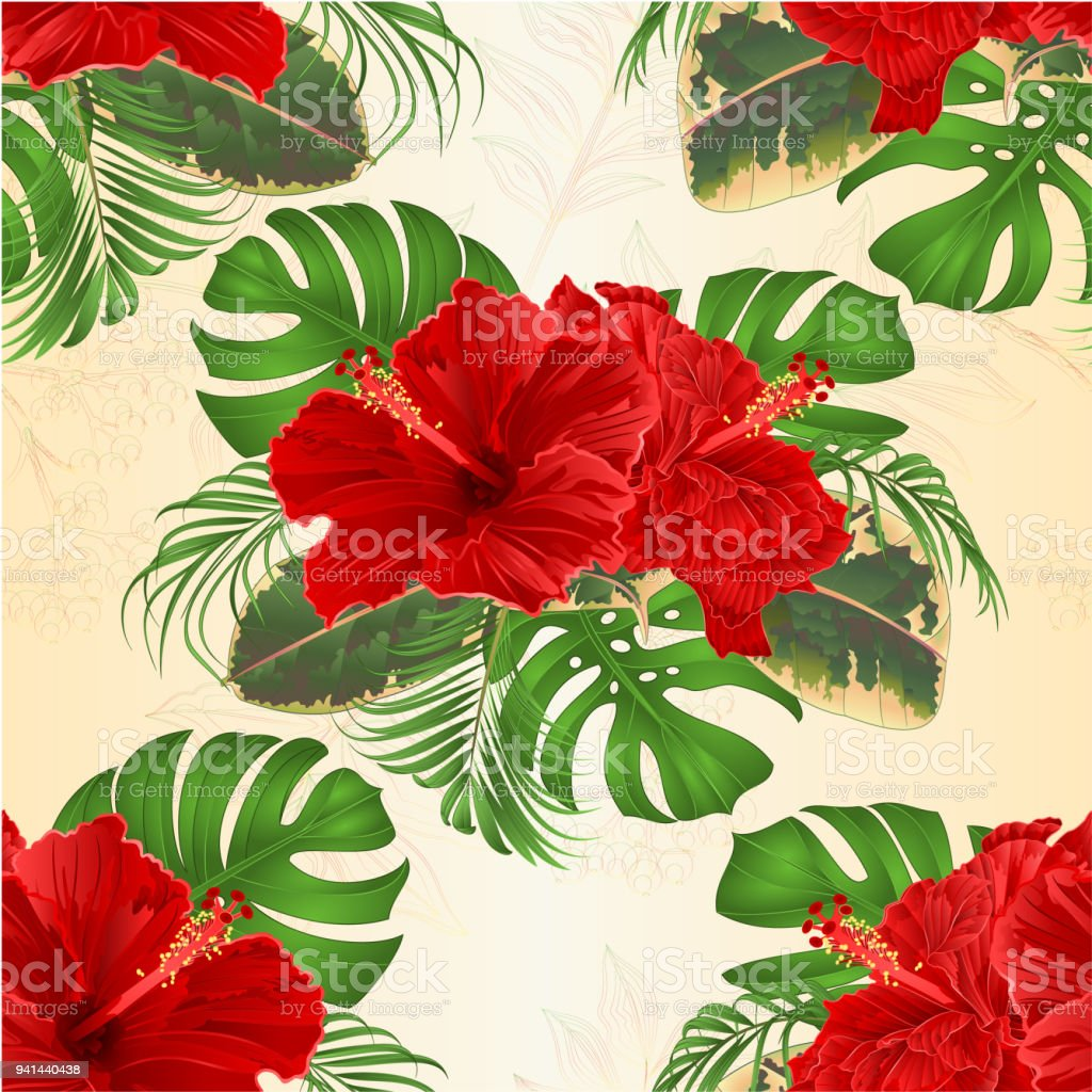 Seamless texture bouquet with tropical flowers hawaiian style floral seamless texture bouquet with tropical flowers hawaiian style floral arrangement with beautiful hibiscus palm izmirmasajfo