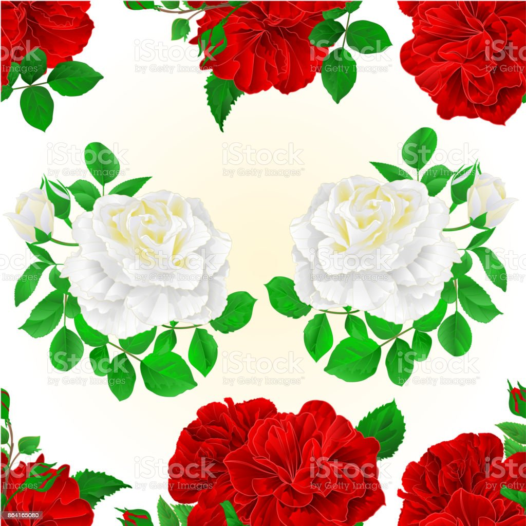 Seamless texture bunch Three red and white roses with  buds vintage editable festive background vector illustration royalty-free seamless texture bunch three red and white roses with buds vintage editable festive background vector illustration stock vector art & more images of beauty