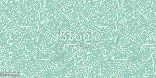 istock Seamless Texture city map in Retro Style. Outline map 1151367251