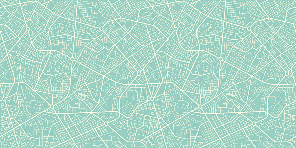 Seamless Texture city map in Retro Style. Outline map