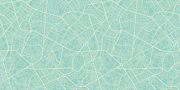 illustrazioni stock, clip art, cartoni animati e icone di tendenza di seamless texture city map in retro style. outline map - automotive