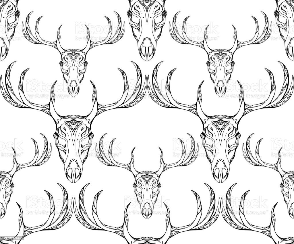 Seamless Texture Deer Skull With Horns And Boho Pattern Stock Vector ...