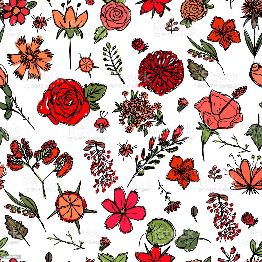 Ilustracion De Textura Transparente Con Dibujos Infantiles De Flores