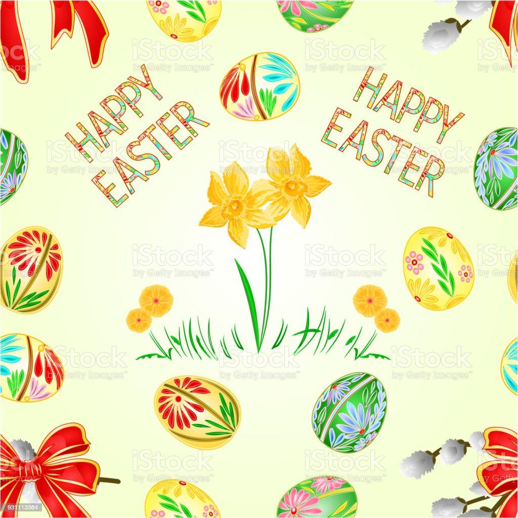 Sorunsuz doku mutlu Paskalya dekorasyon Paskalya yumurtaları ve Nergis yeşil çimen, kedi willov ve yay. Nisan ayında mevsimlik tatil. Renkli yumurta ve çiçekler illüstrasyon düzenlenebilir vektör - Royalty-free Aranmak Vector Art