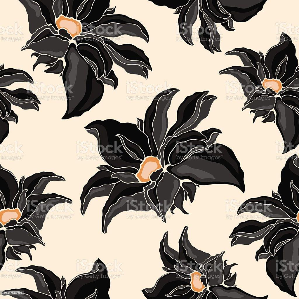 Seamless Texture Of Flowers Black Black Lily Black Lotus Stock