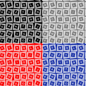 seamless texture of letters in squares located in different directions (keyboard) in four colors