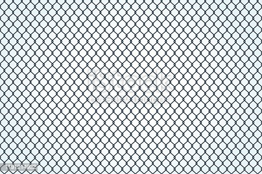 Seamless texture of metal mesh. Barbed fence prison barrier, secured property. Chain link fence wire mesh. Vector illustration flat design. Isolated on white background.