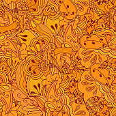 Seamless texture of orange flowers and trees in a simple style. Vector illustration.
