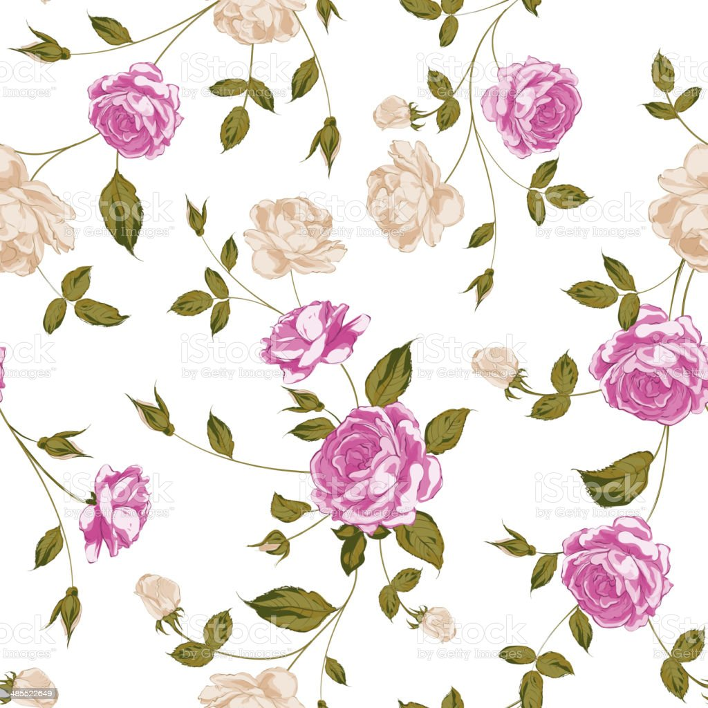 Seamless texture of pastel roses for textiles vector art illustration