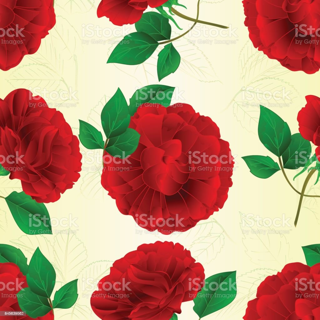 Seamless Texture Roses Purple Stem And Leaves Vintage Vector Illustration Editable Stock Illustration Download Image Now Istock