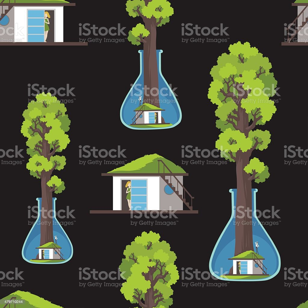 Seamless Texture Save The Forest Family House Under Sequoia Stock  Illustration - Download Image Now