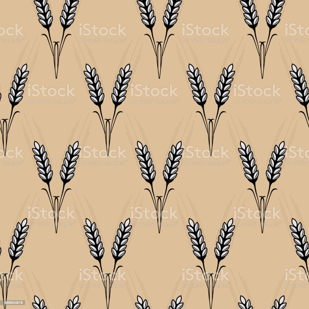 Seamless texture spikelets of wheat, printing on fabric, wallpap vector art illustration